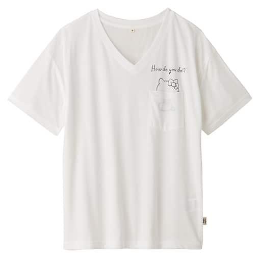【SALE】 【レディース】 ハローキティ 手書き風ロゴポケット付きゆるTシャツ