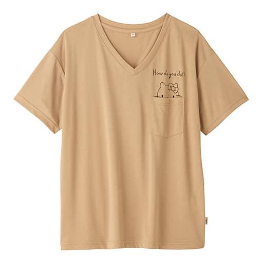 【SALE】 【レディース】 ハローキティ 手書き風ロゴポケット付きゆるTシャツ – セシール