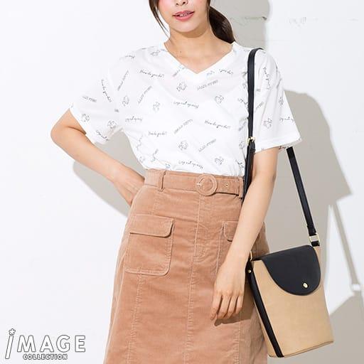 【SALE】 【レディース】 ハローキティ 手書き風ロゴ総柄ゆるTシャツ – セシール