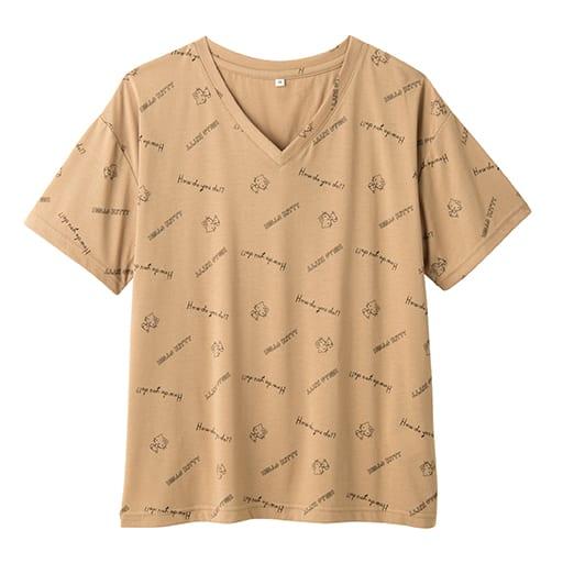 【レディース】 ハローキティ 手書き風ロゴ総柄ゆるTシャツの通販