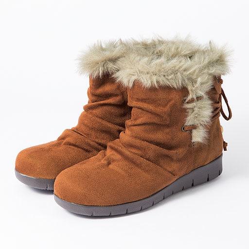 【SALE】 フェイクファー使いスエード調ブーツ