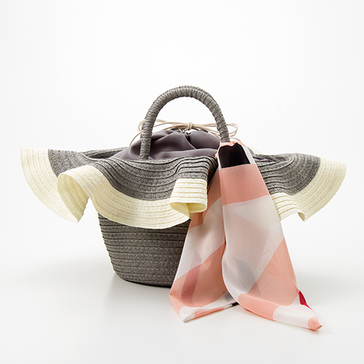 30%OFFスカーフ付き帽子風カゴバッグ