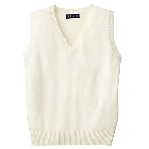【ティーンズ】 吸汗・速乾加工付き さらっとVネックニットベスト(スクール・制服) S、M、L ホワイト