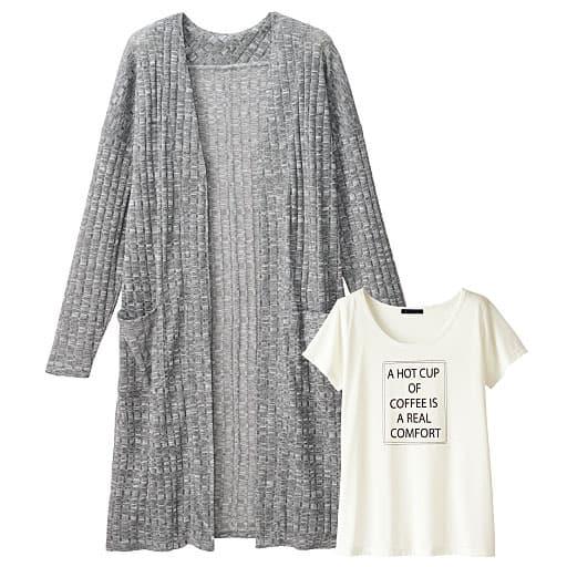 25%OFF【ティーンズ】 ロングカーディガン&半そでTシャツ - セシール