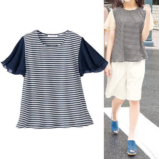 【SALE】 【ティーンズ】 袖シフォンボーダーTシャツの通販