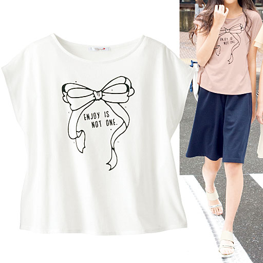 【ティーンズ】 ラインストーン付きリボンプリントTシャツ