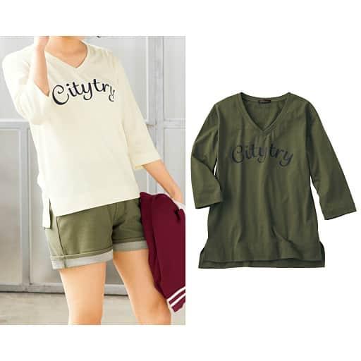 【ティーンズ】 Vネック7分袖プリントTシャツの通販