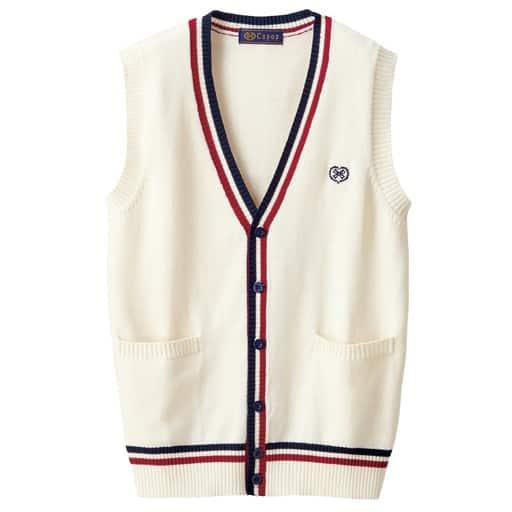 【ティーンズ】 ライン入り♪前開きVネックニットベスト(スクール・制服) S、L、M ホワイト