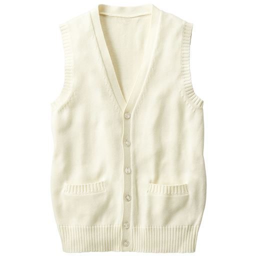 【ティーンズ】 年間使いやすい綿100% Vネック前開きニットベスト(スクール・制服)の通販
