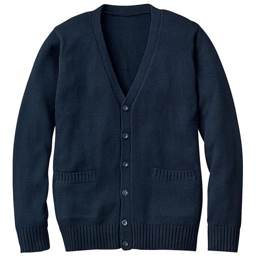 【ティーンズ】 年間使いやすい綿100% Vネックニットカーディガン(スクール・制服)