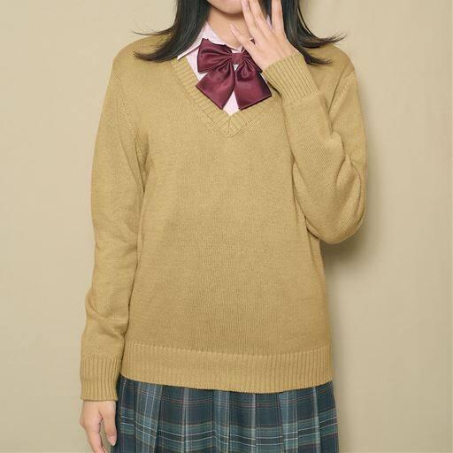 【ティーンズ】 年間使いやすい綿100% Vネックニットセーター(スクール・制服)