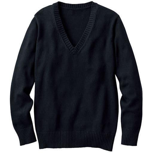 【ティーンズ】 年間使いやすい綿100% Vネックニットセーター(スクール・制服) - セシール