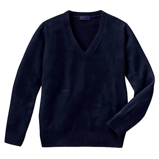 【ティーンズ】 あったか毛80% Vネックニットセーター(スクール・制服)