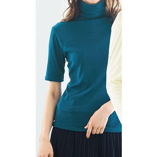 【SALE】 【レディース】 タートルネック5分袖(綿100% シフォン調素材の贅沢カットソー)の通販