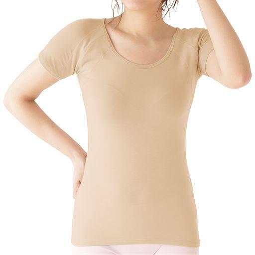 【レディース】 大きな汗取り付フレンチ袖(冬の爆汗さん®に!Sweat Magic汗取りパッド付)
