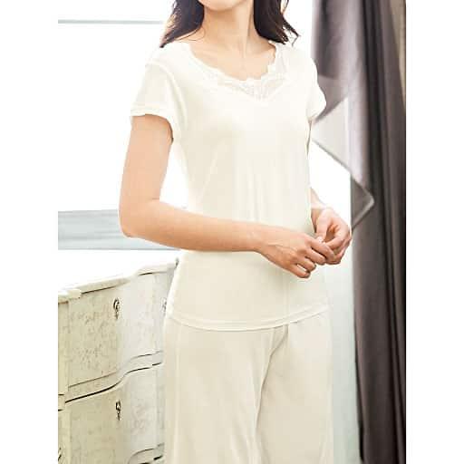 【SALE】 【レディース】 しっとりなめらかシルク100%のフレンチ袖(インナー・絹100%)