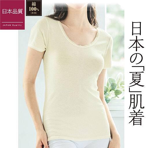 【レディース】 フレンチ袖(やさしい着心地の綿100%ニット楊柳インナー)