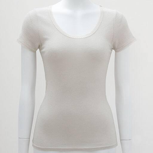【SALE】 【レディース】 フレンチ袖(やさしい着心地の綿100%ニット楊柳インナー)
