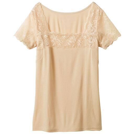 【レディース】 スマートドライ 汗取りパッド付きフレンチ袖(大きな強汗取りパッド付き・綿100%・レースタイプ))