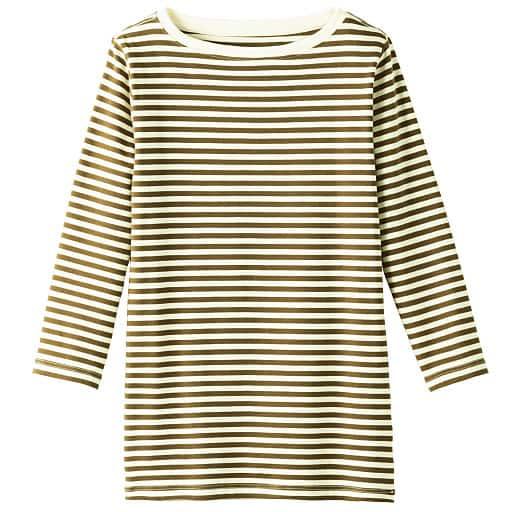 【SALE】 【レディース】 ボートネック7分袖Tシャツ(ボーダー&無地 肌触りやわらかいカラバリ豊富なデイリーTシャツ)の通販