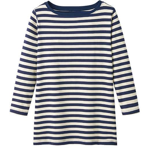 【レディース】 ボートネック7分袖Tシャツ(ボーダー&無地 肌触りやわらかいカラバリ豊富なデイリーTシャツ)の通販
