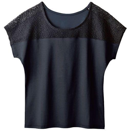 【レディース】 レース付きフレンチ袖スムースTシャツ(ハリ感と光沢が上品なフェミニンTシャツ)の通販