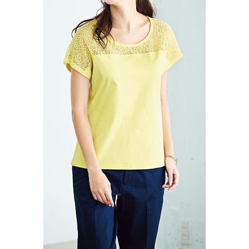【SALE】 【レディース】 レース付きフレンチ袖スムースTシャツ(ハリ感と光沢が上品なフェミニンTシャツ)の通販