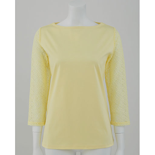 【SALE】 【レディース】 レース付き7分袖スムースTシャツ(ハリ感と光沢が上品なフェミニンTシャツ)の通販