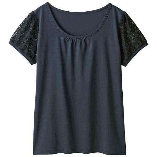 【レディース】 レース付きパフスリーブスムースTシャツ(ハリ感と光沢が上品なフェミニンTシャツ)