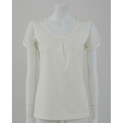 【SALE】 【レディース】 レース付きパフスリーブスムースTシャツ(ハリ感と光沢が上品なフェミニンTシャツ)の通販
