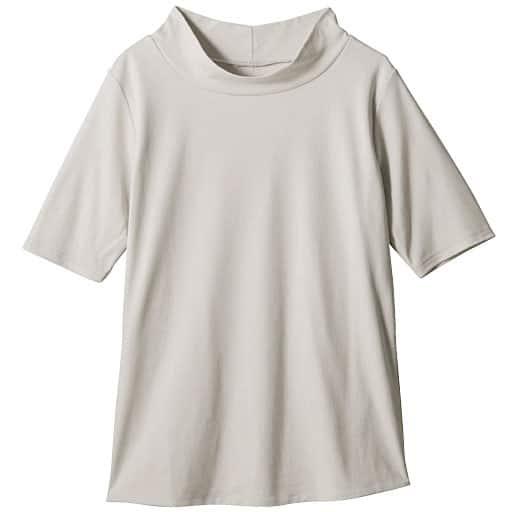 【レディース】 ダブルフロントハイネック5分袖Tシャツ – セシール