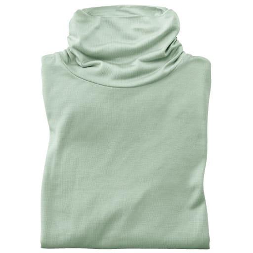 【SALE】 【レディース】 柔らかシルク100%のタートルネック長袖Tシャツ(絹100%)