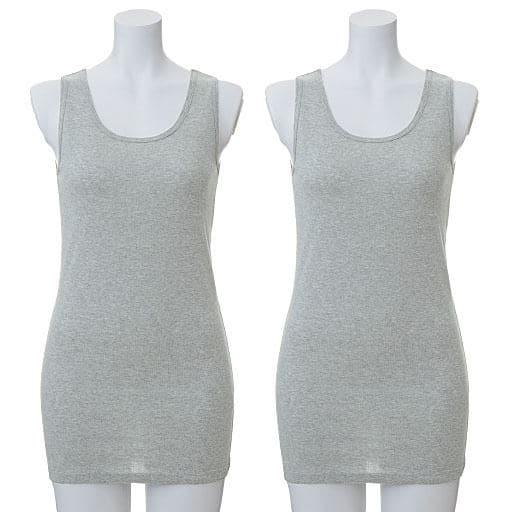 【レディース】 綿100%ノースリーブ(長めで安心70cmロング丈)(2枚組)