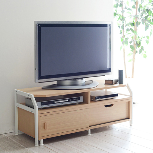 北欧風デザインの伸縮式テレビラックの写真