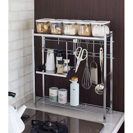 コンロサイドキッチンラック ハーフ棚付き – セシール