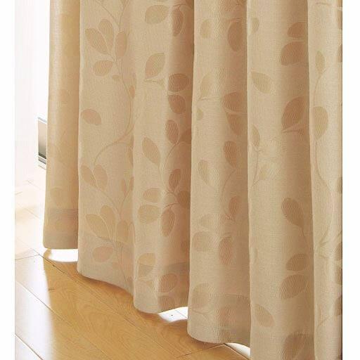 <セシール> 遮熱・1級遮光裏地ライナー付ジャカード織カーテン <サイズ>幅100x丈135(2枚組)、幅100x丈178(2枚組) <カラー>ベージュ