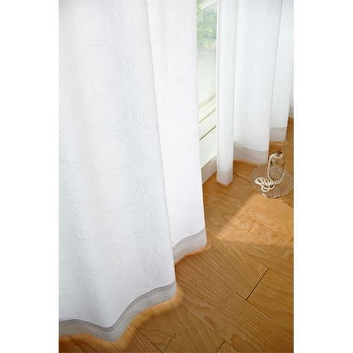 〔形状記憶付き〕サークル柄遮熱UVカットミラーレースカーテンの商品画像