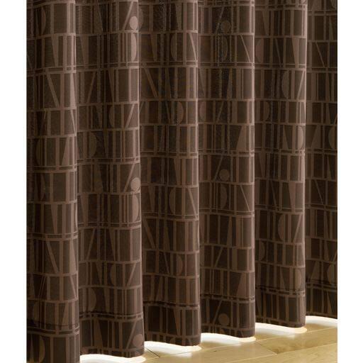 〔遮熱・1級遮光裏地付き〕モダン柄ジャカード織りカーテンの商品画像