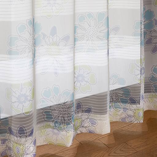 <セシール> 透け感のあるデザインボイルカーテン <サイズ>幅130x丈198(2枚組)、幅130x丈208(2枚組)、幅100x丈128(2枚組)、幅100x丈143(2枚組)、幅10 <カラー>ブルー