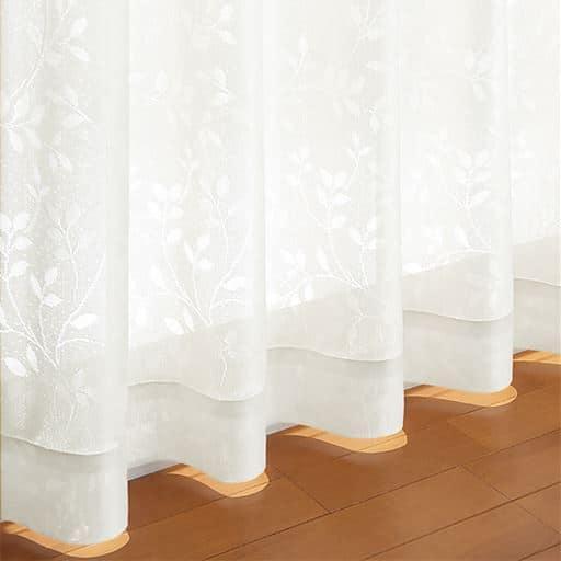 リーフ柄の防炎ミラーレースカーテン(UVカット)の商品画像