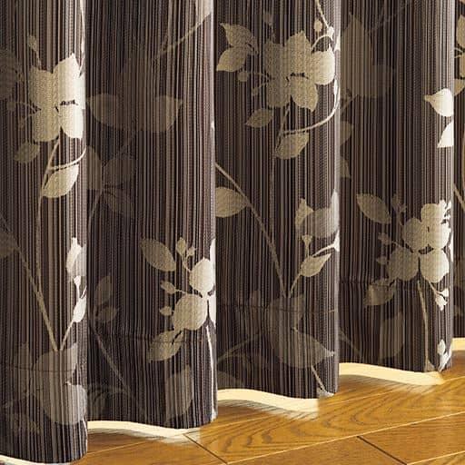 遮熱遮音・安眠1級遮光ジャカード織カーテン(リーフ柄)の写真
