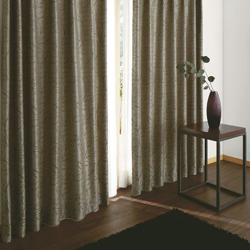 〔形状記憶付き〕モダンリーフ柄ジャカード織りカーテンの商品画像