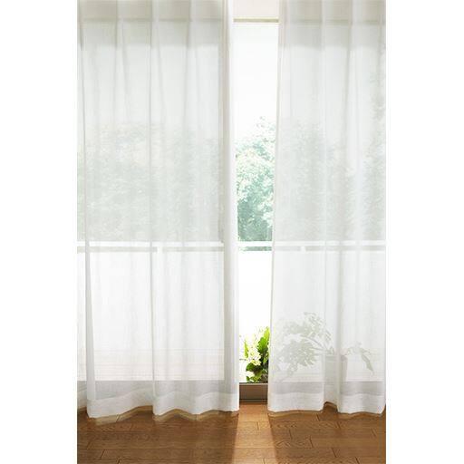 透け感のあるナチュラル無地ボイルカーテンの商品画像