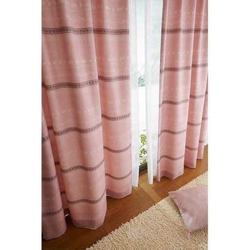 リボン&ローズ柄ジャカード織りカーテンの写真