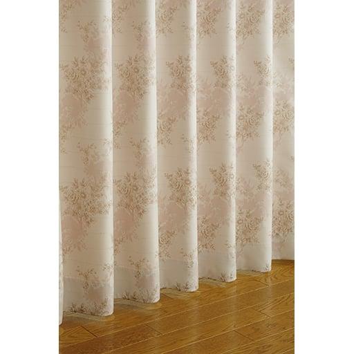 〔形状記憶付き〕ドットラメ入り花柄ジャカード織りカーテンと題した写真