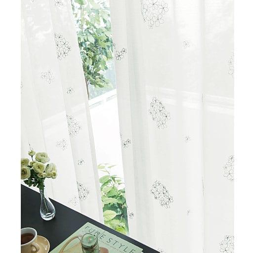 UVカットシルバー刺繍ボイルカーテン