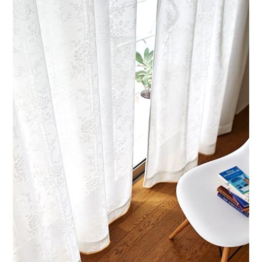 ミラーレースカーテン(エレガントフラワー柄)の商品画像