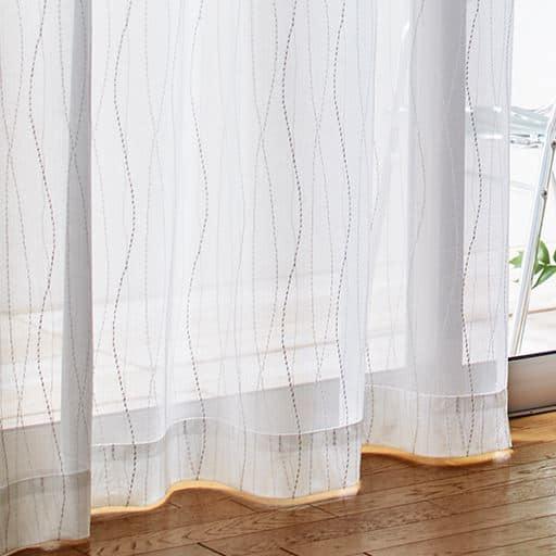 ウェーブストライプ柄レースカーテンの商品画像