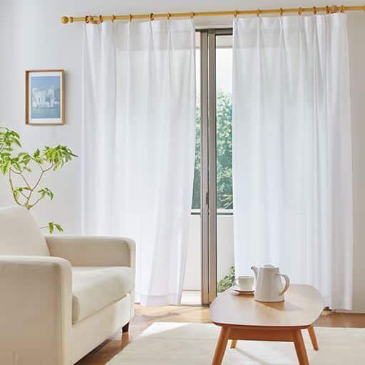 〔形状記憶付き〕防炎・部屋が明るくなる遮熱UVカットミラーレースカーテン(柄)の写真
