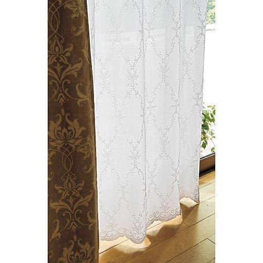 〔形状記憶付き〕遮熱・UVカットミラーレースカーテン(スカラップ)と題した写真
